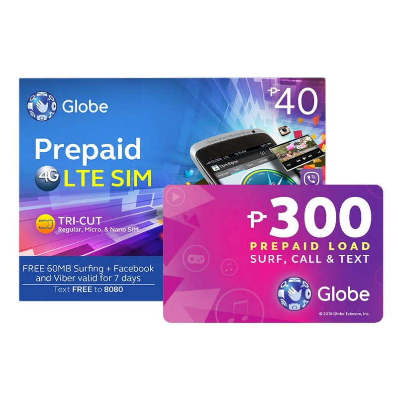 Globe Prepaid LTE SIM Card With P300 Prepaid Load