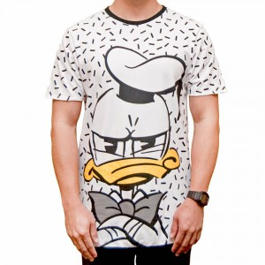 Mickey Mouse Long Line T-shirt with Donald Duck Pattern