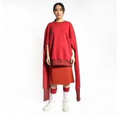 0917 Printed Pullover with Exaggerated Sleeves