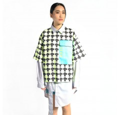 Geometric Print Shirt with Oversized Accent Pocket