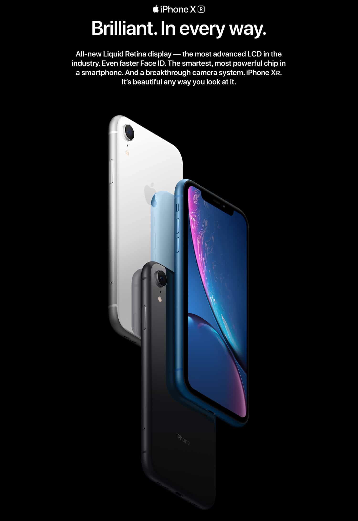 iPhone XR color black, white and blue