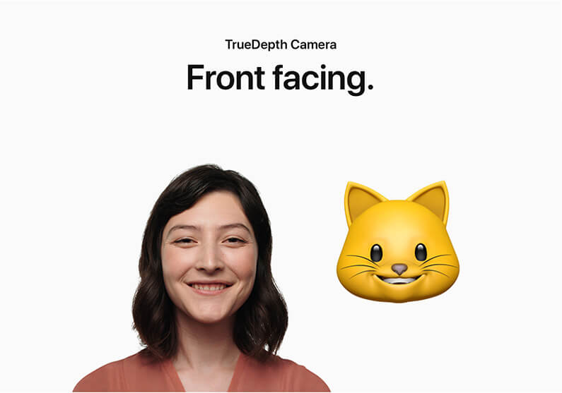 A girl and an iPhone X animoji