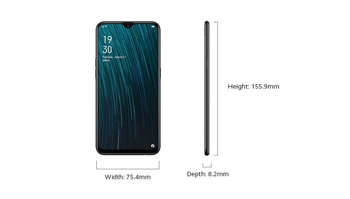 OPPO A5s Width and Depth