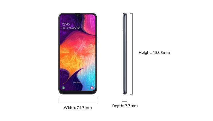 Samsung Galaxy A50 - Device Only Height and Width