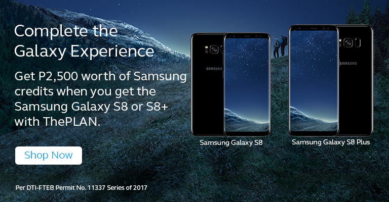 Get P2,500 worth of Samsung credits when you get  the Samsung Galaxy S8 or S8+ with ThePLAN.